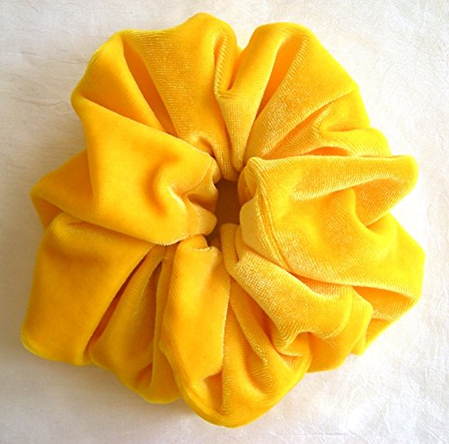 5f17a64d242f Amazon.com   Solid Yellow Velvet Hair Scrunchy-Large - Made in the USA    Beauty