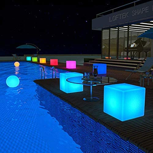LOFTEK LED Light Cube 20-inch RGB Cube Seats Colors Changing Bar Chairs Table