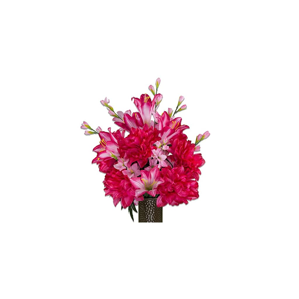 Beauty-Lily-and-Dahlias-featuring-the-Stay-In-The-Vase-DesignC-Flower-Holder-MD1983