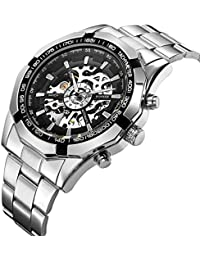 Mens Automatic Mechanical Skeleton Dail Analog Wrist Watches Stainless Steel Bracelet,Silver