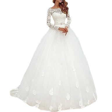 DreHouse Women\'s Lace Long Sleeve Vintage Wedding Dresses 2017 ...