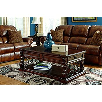 Ashley Furniture Signature Design - Alymere Lift Top Coffee Table - Cocktail Height - Rectangular - Rustic Brown