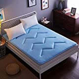 YQ WHJB Breathable Tatami Mattress,Polyester Mattress-Toppers,Japanese Dorm Room Non-Slip Summer Foldable Solid Color Mattress Pads-Blue 150x200cm(59x79inch)