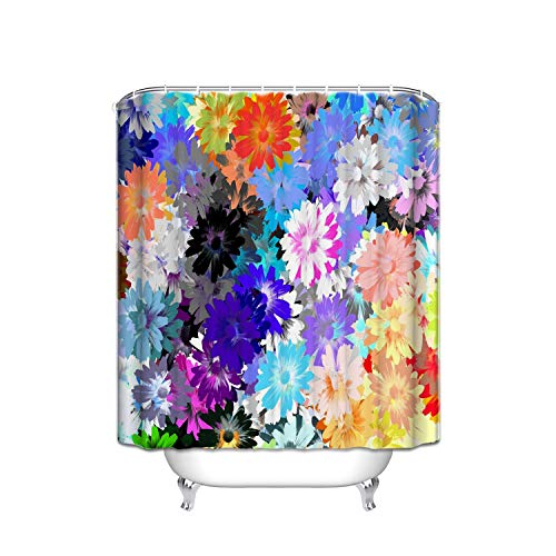 Blue Flower Shower Giraffe (Spring Pink Purple Blue Daisy Lilac Flower Field Seamless Stripe Shower Shower Curtain, Waterproof Polyester Bathroom Curtain 12 Hooks, Mildew Resistant, 48 X 72 inch)