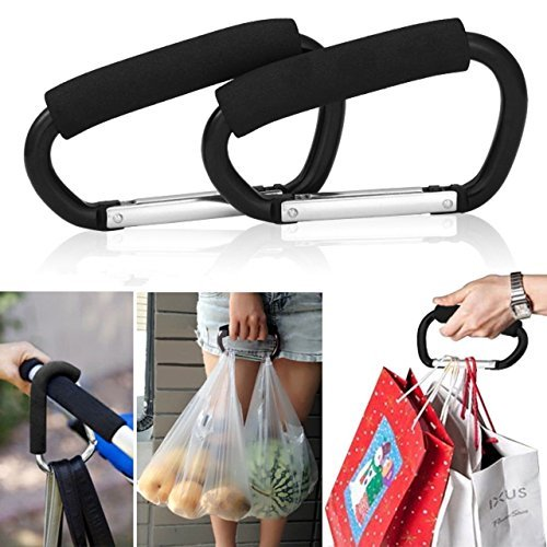 Bag Plastic Carrier (Grocery Bag Holder Handle Carrier Tool,Magnolian 2 Pack Extra-large D-Shape Super-handy Snap Hook Hanger, Mommy Hook Carry Handle With Soft Foam Grip)