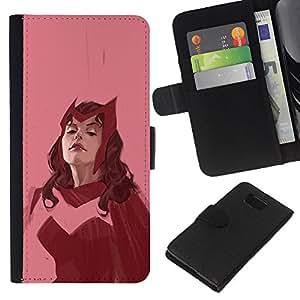 KingStore / Leather Etui en cuir / Samsung ALPHA G850 / Femme Superhero Rose Vintage