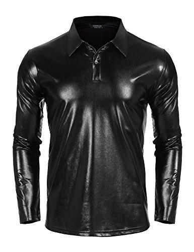 87914489a5095d COOFANDY Mens Disco Shirt Costume Silver Gold Shiny Metallic Nightclub Long  Sleeve Polo Shirt Party T