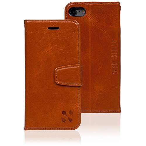Anti Radiation RFID iPhone Case: iPhone 7 and iPhone 8 ELF & RF Blocking Identity Theft Protection Wallet (Leather) by SafeSleeve