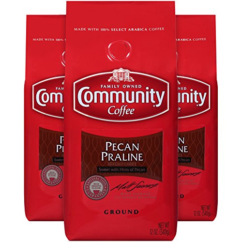 Community Coffee Pecan Praline Flavored Medium Roast Premium Ground 12 Oz Bag (3 Pack), Medium Full Body Sweet Hints of Pecan, 100% Select Arabica Coffee Beans
