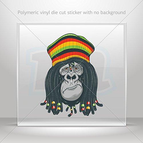 Decal Stickers Jamaican Rasta Gorilla Hobbies Motorbike Vehicle Tablet Lapto (5 X 3.74 In)