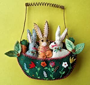 Easter Decoration - Fabric Applique Basket of Bunnies - Easter Bunny
