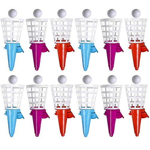 Kicko 7 Inch Catch and Click - Pop-Up Click Catch Shooters with Ball, 12 Pack of Cone Shooters, Enhance Motor Skills, Game Prizes, Ideas, Party Favors, Small Toy Collections, Indoor and Outdoor