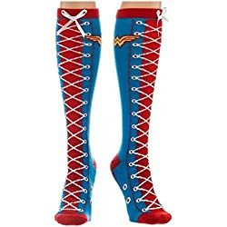 DC Comics Wonder Woman Faux Lace Up Knee High Socks Blue, One Size