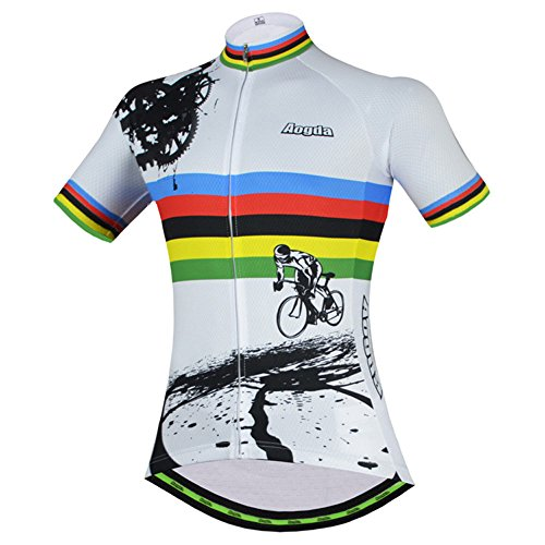 Men Cycling Jerseys Yellow Shirts Breathable Quick Dry Jacket Short Sleeves Suit  Aogda Team Cycling Clothing White (Z06, Large)