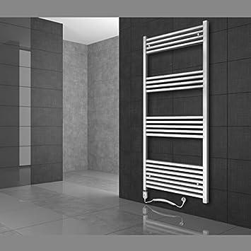 Radiador toallero 300 x 800 mm Radiador de diseño Secador de toallas con Elemento de calefacción eléctrico 600W Recto Color blanco: Amazon.es: Bricolaje y ...