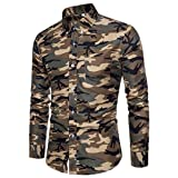 Ximandi Men's Shirts British Style Camouflage Long Sleeve Business Slim Fit Shirt