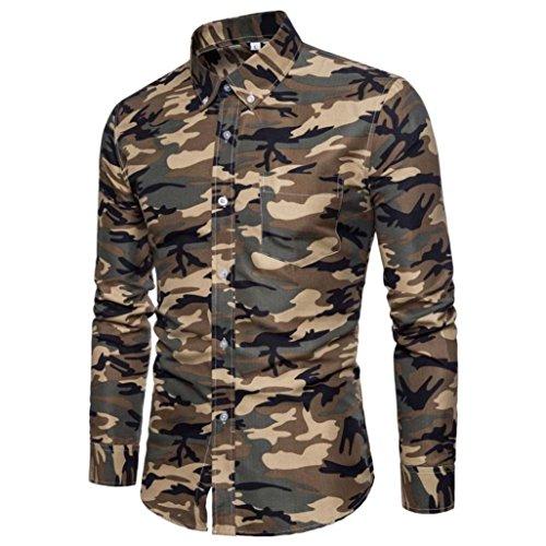 Ximandi Men's Shirts British Style Camouflage Long Sleeve Business Slim Fit Shirt by Ximandi