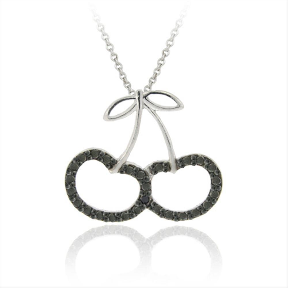 18 Glitzs Jewels Sterling Silver Black Simulated Diamond Accent Cherries Slide Pendant