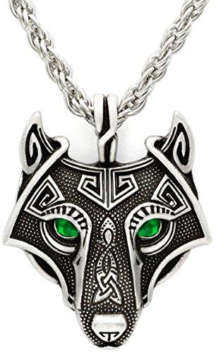 Fatti Antico Pendente Smeraldo Testa A Verde Lupo Catena Collana Viking Unici Occhi Mano Argento RwdRqI