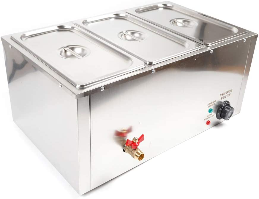 Meiney 110V 3-Pan Commercial Food Warmer 850W Electric Steam Table Countertop Food Warmer 3 Pot Hot Well, for Catering and Restaurants 37L Stainless Steel Durable