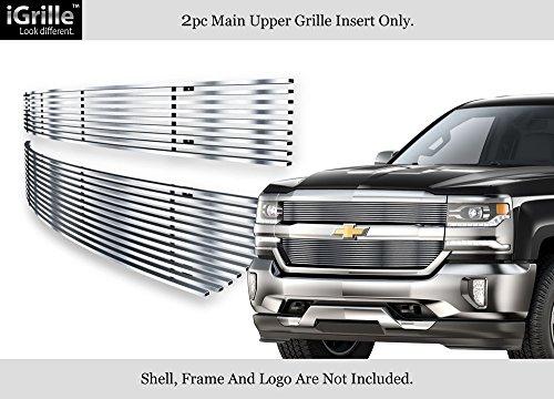 Fits 2016-2018 Chevy Silverado 1500 Reg Model Stainless Steel Billet Grille (Chevrolet Silverado Stainless Steel Billet)