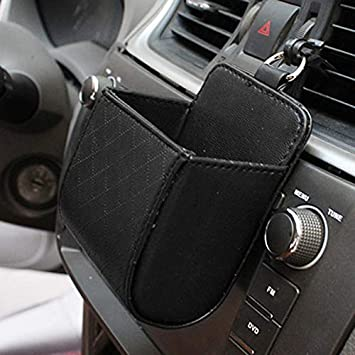 Car Organizer Box Bag Air Outlet Dashboard Hanging Leather Mobile Phone Holder Automobile Vehicle storage bucket Car Accessories