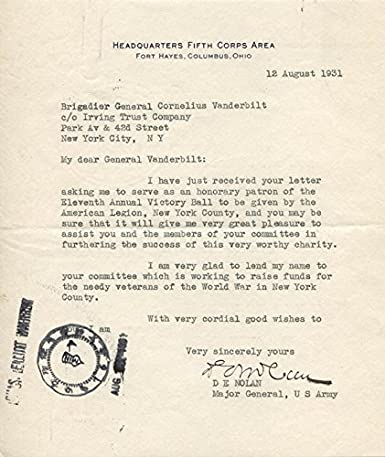 Amazon com: Major General Dennis E  Nolan - Typed Letter