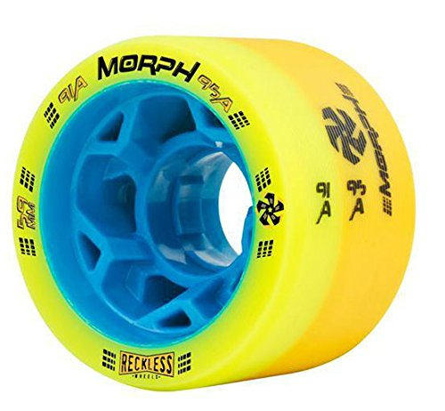 Reckless MORPH Quad Indoor Roller Derby Speed Skate Dual Durometer Wheels 8 Pk. (Yellow/Orange - Blue Hub (91A/95A))