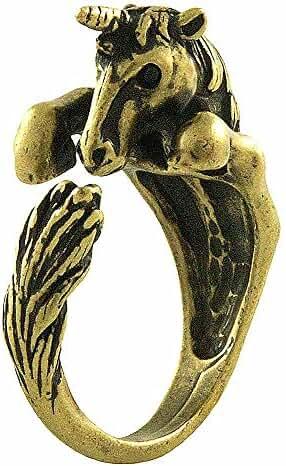 Enhanced Unicorn Adjustable Animal Wrap Ring Vintage Gold Tone