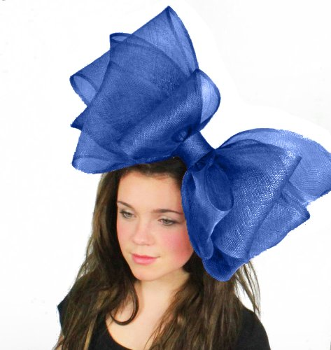 Hats By Cressida 20 Inch Cliverina Sinamay Bow Ascot Fascinator Hat Women's With Headband - Royal Blue by Hats By Cressida