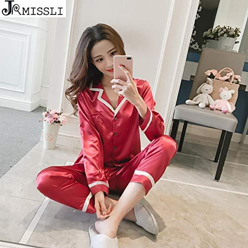 2eaefaa5e9 UATECH JRMISSLI Women Sleepwear Satin Sleep Lounge Pajama Set Nightwear  Pyjamas Spring Casual Home Clothing Pijama
