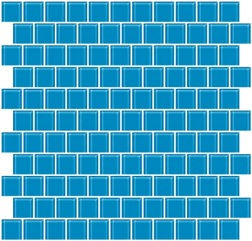 - 1 Inch Turquoise Blue Glass Tile Reset In Offset Layout (Offset Glass)