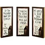 Outhouse Etiquette Wood Signs - Set of 3