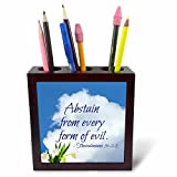 3dRose Alexis Design - Quotes Religion - Bible Quotes - Abstain from Every Form of Evil. White Cloud, Tulips - 5 inch Tile Pen Holder (ph_280806_1)