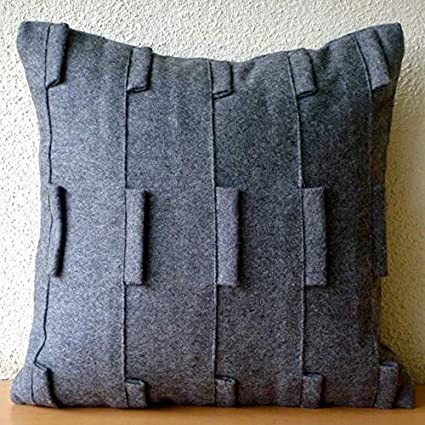 Brilliant Designer Charcoal Grey Throw Pillows Cover For Couch Pintucks And Loop Pillows Cover 20X20 Throw Pillow Cover Modern Decorative Pillows Cover Machost Co Dining Chair Design Ideas Machostcouk
