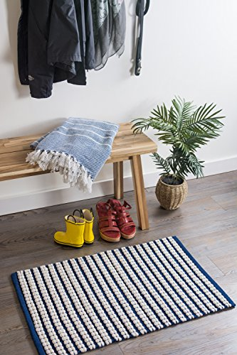 DII Indoor Braided Cotton Handloomed Yarn Dyed Woven Reversible Area Rug for Bedroom, Living Room, Kitchen, 2x3' - Stripe Navy