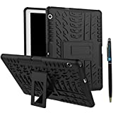 (US) MediaPad T3 10 9.6 Inch Case Hybrid DWaybox Rugged Heavy Duty Armor Hard Back Cover Case with Kickstand for HUAWEI MediaPad T3 10 9.6 Inch (BlacK)