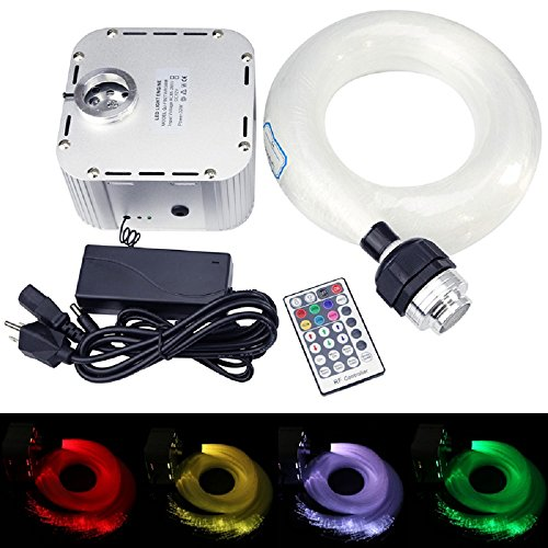 32W LED 4-Speed Twinkle RGB Fiber Optic Star Light Ceiling Kit + Crystal + Mix Size Fiber Optical Cables (0.75mm+1mm+1.5mm) 16.5ft Long 800pcs + 28Key RF -