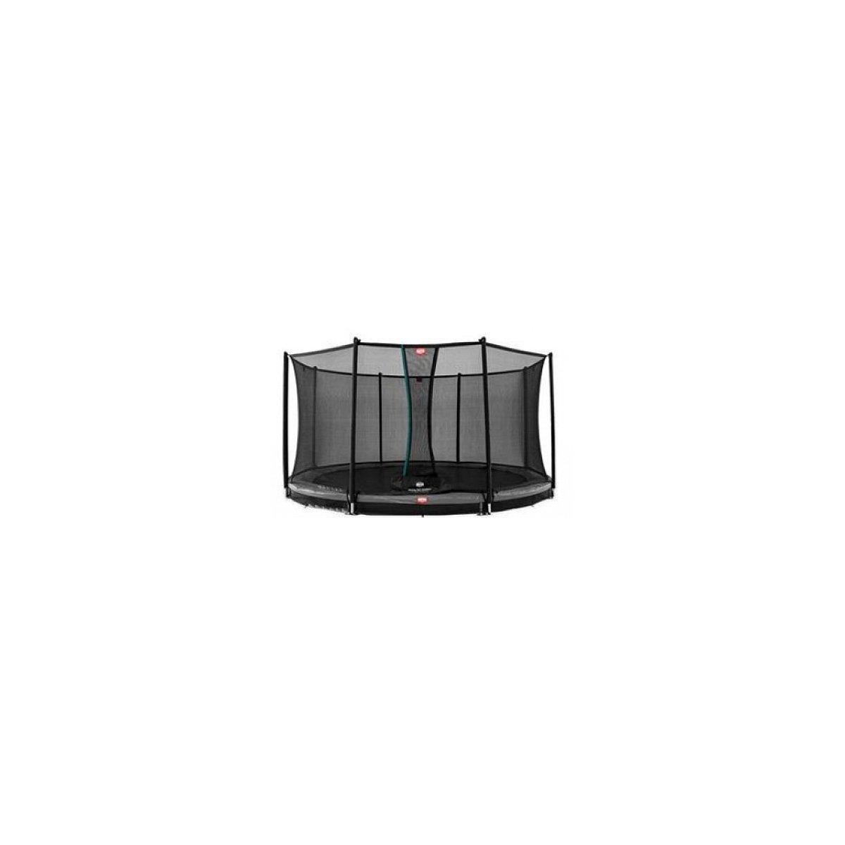 Berg® Trampolin InGround Champion mit Sicherheitsnetz Comfort, 380 cm, Randbezug Grau