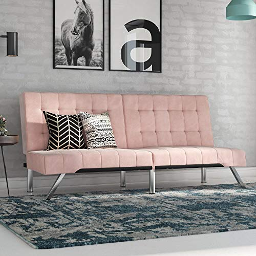 DHP Emily Futon, Pink Velvet (Furniture Pink Leather)