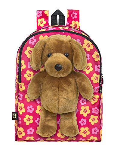 Plush Stuffed Dog Toy Doll with Pull Out Backpack, Pink, One Size
