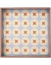 عناصر، صينية خشبية بنمط 15 × 15 بوصة مع تصميم دائرة