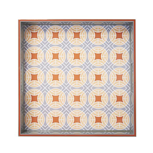 Elements 15x15-Inch Pattern Wood Tray with Circle Design