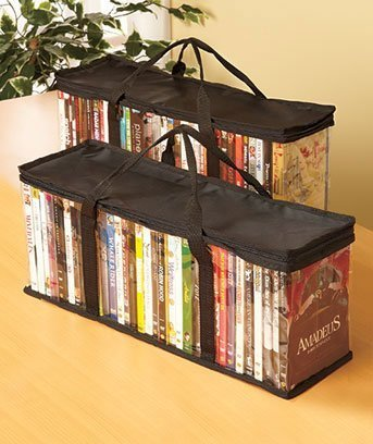 DVD Storage Organizer - Classic Set Of 2 Storage Bags With Room For 40 DVDs Each For A Total Of 80 (Movie Organizer)