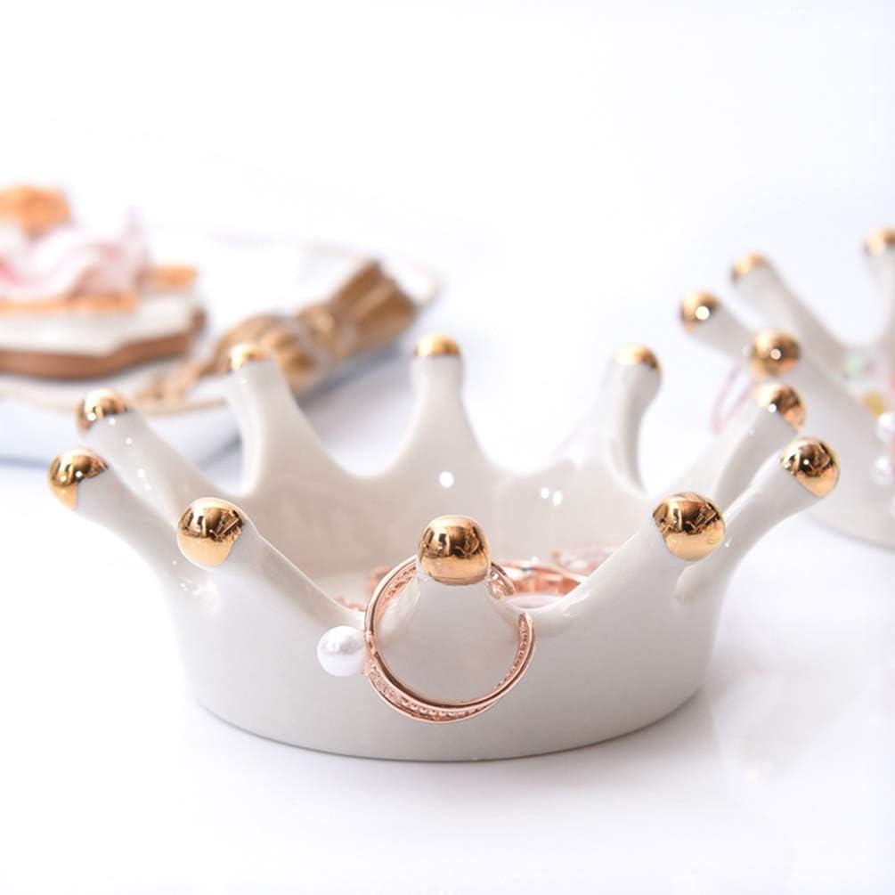 Healifty Schmuck Ring Armb/änder Geschirrtablett Veranstalter Halter Kronenform Keramik Serviertablett Platte Platter f/ür Party Tischdekoration