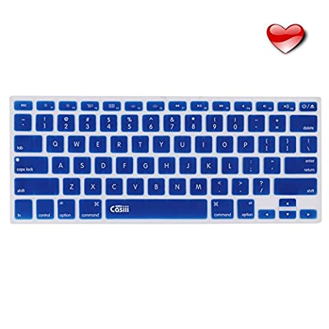 SALE Casiii Ultrathin MacBook Pro Keyboard Cover for Macbook Pro, Macbook Air, Macbook wireless keyboard and iMac, 13 15 and 17 Inch, With / Without Retina, Engineer-Quality Silicone (Navy (Mb Air)