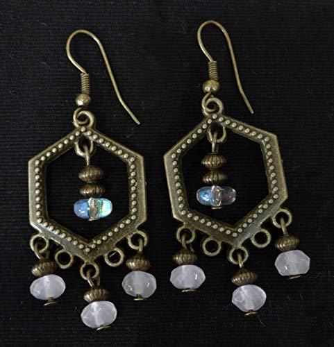 - Rose Quartz and Crystal Chandelier Earrings