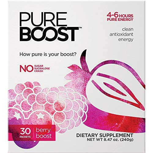Pureboost Clean Energy Drink Mix. Contains No Sugar No Sucralose. Healthy Energy Loaded with B12, Antioxidants, 25 Vitamins, Electrolytes. (Berry Boost, 30 Count)