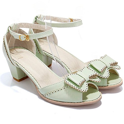 LongFengMa Women's Ankle Strap Sweet Bowtie Sandals Square Heels Green BA7BSly