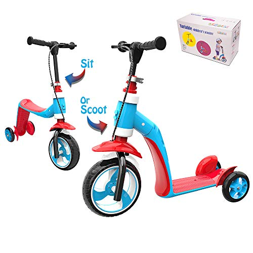 Verkstar Kick Scooter for Kids Toddlers Girls Boys, 2 in 1 Kids Scooter with Handbrake, Adjustable Handle, Extra-Wide Deck, The Latest Outdoor Toys for 2 to 7 Years Old Kids